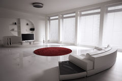 Living room interior. Living room with sofa and lcd tv interior 3d render Royalty Free Stock Photography