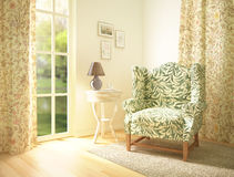 Living-room interior. With a comfortable armchair.3D render royalty free illustration