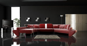 Living Room Interior. Minimalist Living Room Design with red leather sofa 3D Rendering vector illustration