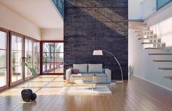 Living room interior. Beautiful modern living room interior (cg illustration Royalty Free Stock Photos