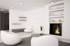 Living room Interior 3d render Stock Image