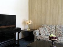 Living room interior 4. Living room interior with wall space and piano royalty free stock photo