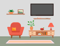 Living room interior with armchair and furniture Stock Image