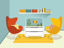 Living room interior with armchairs and aquarium. Flat design vector illustration Stock Photography