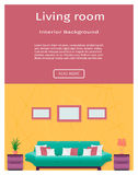 Living room interior banner in bright colors for your web design. Royalty Free Stock Image