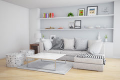 Living room. Interior of a living room with big sofa and table royalty free stock photo