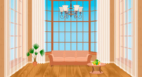 Living room interior with big windows. Modern design of light loft with wooden flooring, sofa, chandelier. Contemporary household concept. Vector illustration Stock Photo