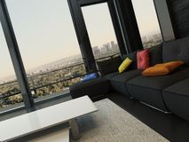 Living room interior with black couch with colored pillows Royalty Free Stock Photos
