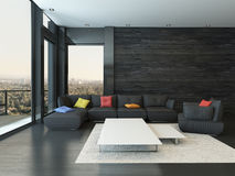 Living room interior with black couch with colored pillows. Nice Living room interior with black couch with colored pillows Stock Photos