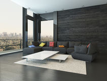 Living room interior with black couch with colored pillows Royalty Free Stock Photo