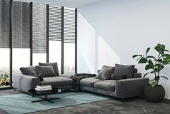Living room interior with black couch Stock Photos