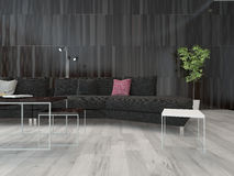 Living room interior black couch and dark wall Royalty Free Stock Images
