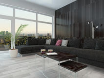 Living room interior black couch and dark wall Royalty Free Stock Photos