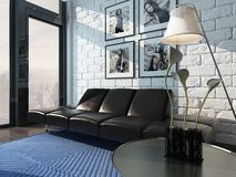Living room interior with black leather couch against brick wall Royalty Free Stock Images