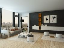 Living Room Interior With Black Wall And Modern Furniture Royalty Free  Stock Photography