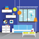 The living room interior in blue tones Stock Image