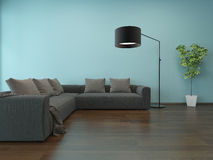 Living room interior with blue wall and gray couch Stock Photos