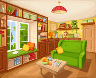 Living room interior with bookcase, sofa and table. Vector illustration. Royalty Free Stock Image