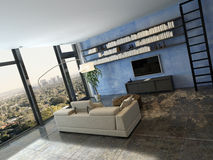 Living room interior with bookshelf on blue wall Stock Photos