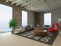 Living room interior with brick wall Stock Photos