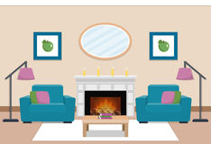 Living room interior with chimney. Vector illustration. The interior of cozy living room with two armchairs and chimney. Vector illustration Stock Photos