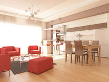 Living Room Interior Combined Kitchen Royalty Free Stock Image