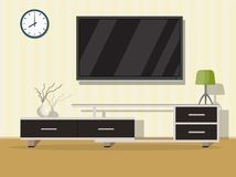 Living room interior concept. With modern furniture. Vector illustration in flat style Stock Images
