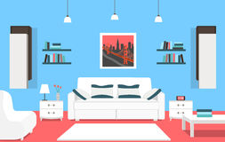 Living room interior concept with modern furniture set flat vector illustration. Royalty Free Stock Photo