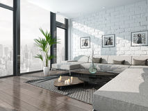 Living room interior with couch and brick wall Stock Photo