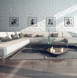 Living room interior with couch and brick wall Royalty Free Stock Photo
