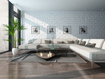 Living room interior with couch and brick wall Stock Photos