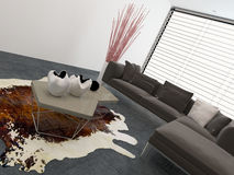 Living room interior with a cow hide on the floor Royalty Free Stock Images