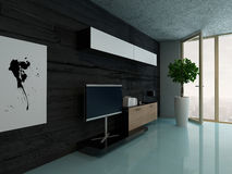 Living room interior with cupboard against black stone wall Stock Photo