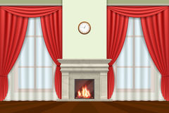 Living room interior with curtains and fireplace vector Stock Images