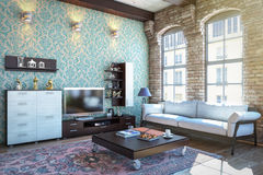 Living room interior. 3d interior of living room Royalty Free Stock Photo
