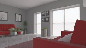 Living Room Interior. 3D render of a Living Room Interior Stock Image