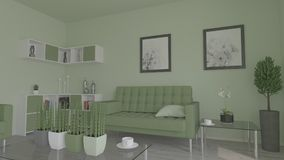 Living Room Interior. 3D render of a Living Room Interior Royalty Free Stock Photography