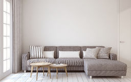 Living-room interior. 3d render. Living-room interior in scandinavian style 3d render stock illustration