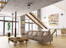 Living room interior 3d render Royalty Free Stock Photography
