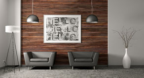 Living room interior 3d rendering Royalty Free Stock Photography