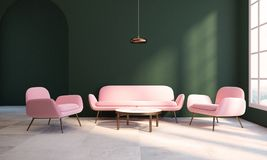 Empty green living room, pink armchair and sofa. Living room interior with dark green walls, a checkered floor, a coffee table and a pink couch with an armchair Stock Photos