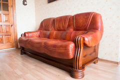 Living room Interior design.Brown leather sofa Royalty Free Stock Image