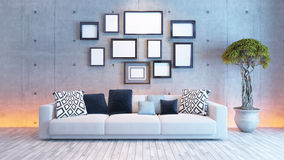 Living room interior design with concrete wall and picture frame. Living room or saloon interior design with under light wall and picture frames 3d rendering Royalty Free Stock Images