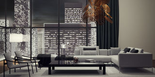 Living room, interior design. 3D Rendering Royalty Free Stock Photo