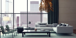 Living room, interior design. 3D Rendering Stock Image