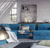 Living room, interior design. 3D Rendering Stock Images