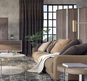 Living room, interior design. 3D Rendering Stock Photography