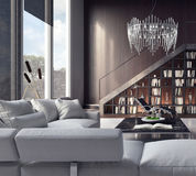 Living room, interior design. 3D Rendering Royalty Free Stock Photography