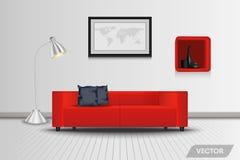 Living room interior design and decorative. stock illustration