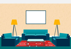 Living room interior design in flat style including armchairs, sofa, glass table, lamp and empty picture frame. Stock Photography